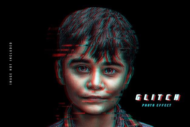Glitch effect photo template Premium Psd