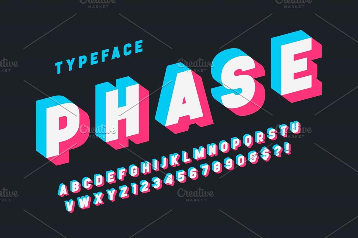 Glitched display alphabet design