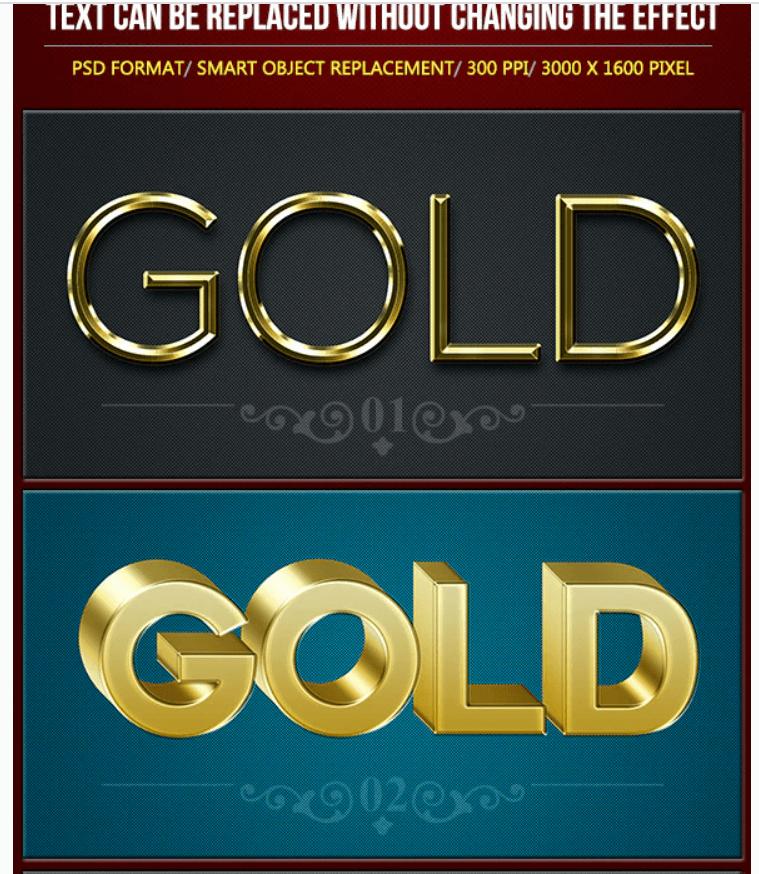 Golden Metal Text Effects