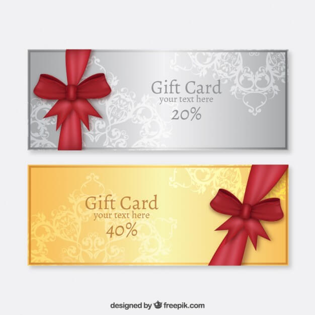 Golden and silver gift cards Premium Vector