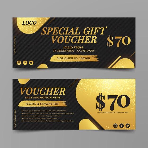 Golden gift voucher template Free Vector