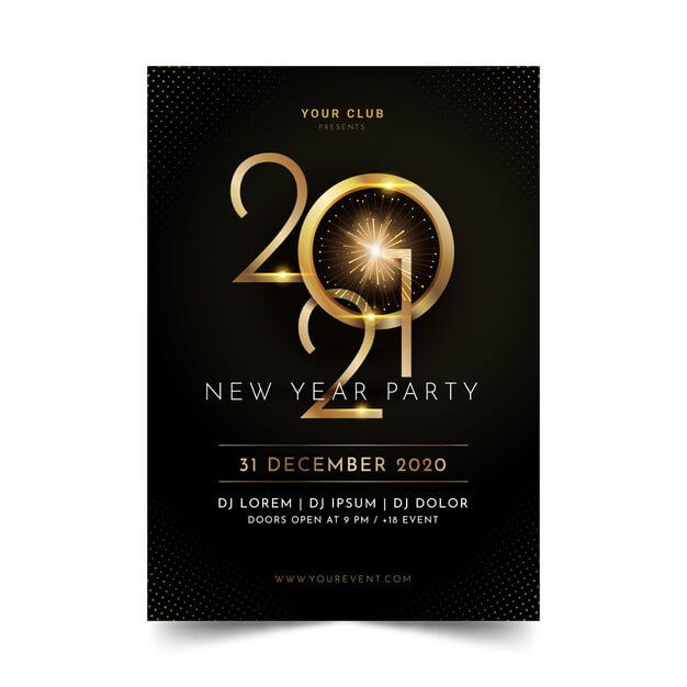 Golden new year 2021 party flyer template Free Vector