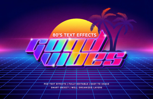 Good vibes 80's retro text effect Premium Psd1