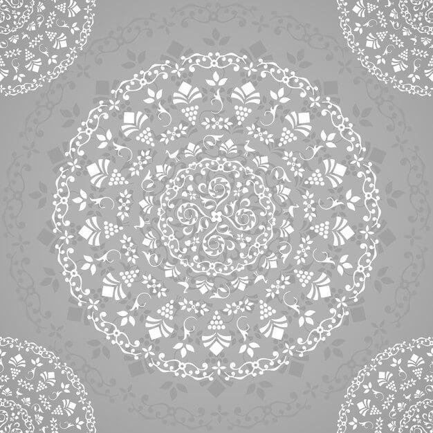 Grey ornamental seamless mandala Free Vector