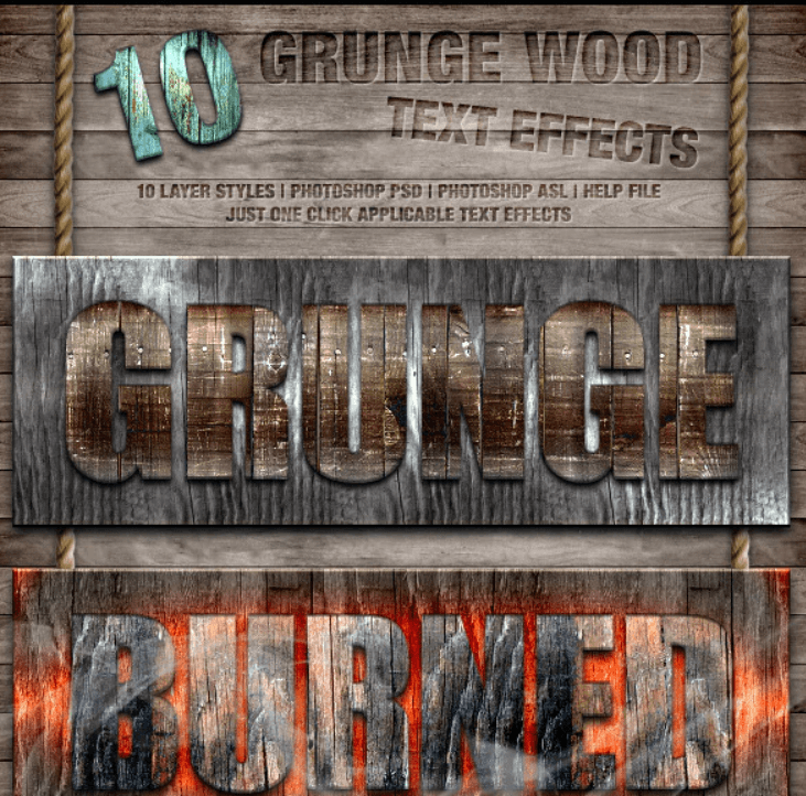 Grunge Wood Styles - Wooden Text Effects