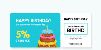 Happy birthday gift voucher card template Premium Vector