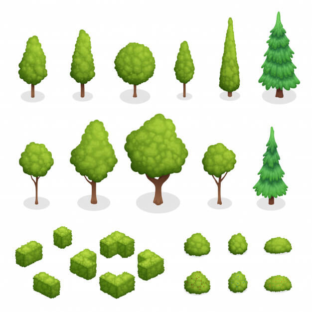 Isometric set of park plants with green trees and bushes of various shapes isolated vector illustration Free Vector