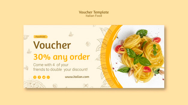 Italian food voucher template Free Psd