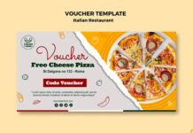 Italian restaurant voucher with pizza Free Psd