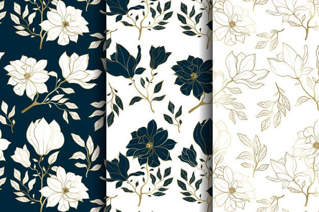 Luxury gold and blue floral seamless pattern Premium Vector