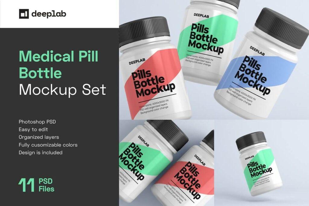 Medical Pill Bottle Mockup - 11 set