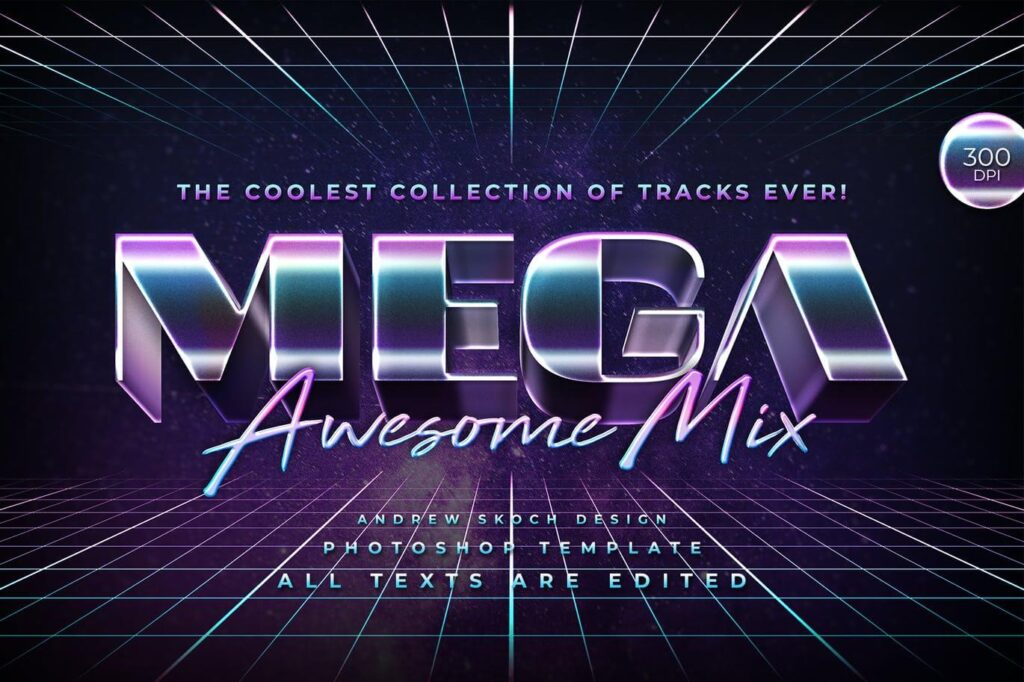 Mega - 80s Retro Text Effect