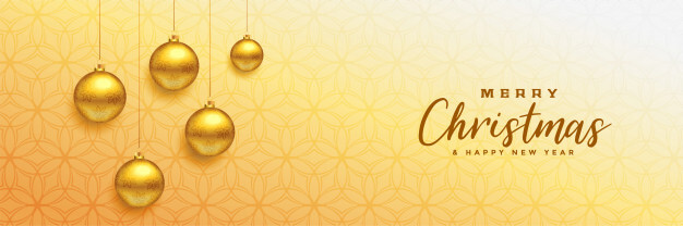 Merry christmas beautiful banner with golden xmas balls Free Vector