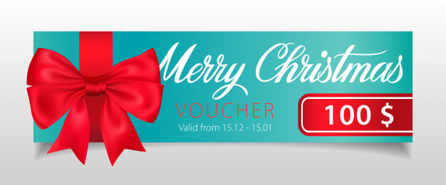 Merry christmas, voucher lettering with big ribbon bow Free Vector