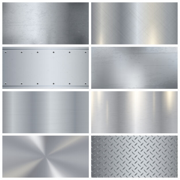 Metal texture realistic 3d samples collection Free Vector