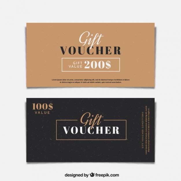 Minimalist gift vouchers Premium Vector