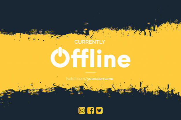 Modern currently offline twitch banner with brush strokes Free Vector