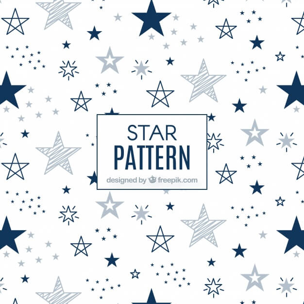 Modern white and blue star pattern Premium Vector