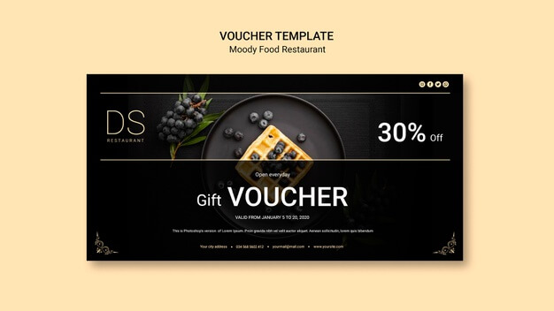 Moody food restaurant voucher template Free Psd