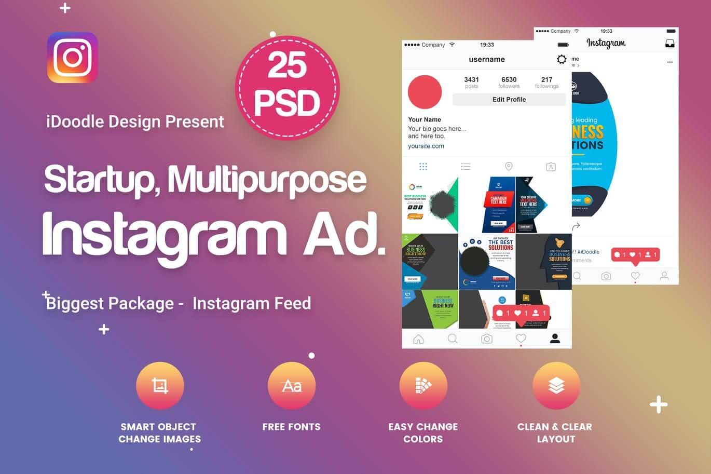 Multipurpose, Startup Instagram Ad - 25 PSD