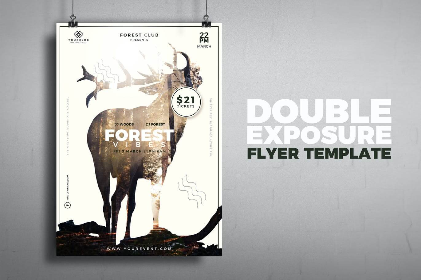 Nature Double Exposure Flyer Template