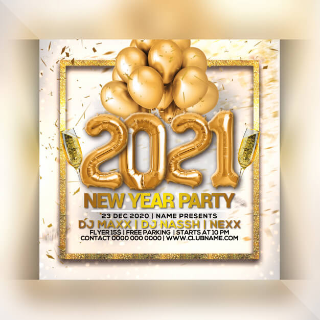 New year party flyer Premium Psd