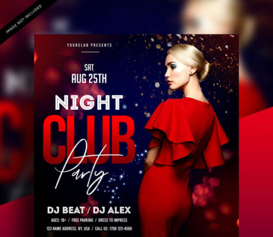 Night club party flyer template Premium Psd
