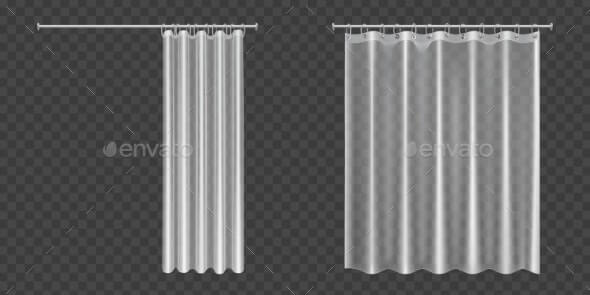 Open and Closed Transparent Shower Curtains