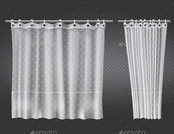 Open and Closed White Transparent Shower Curtains