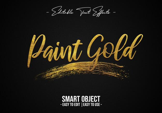 Paint-gold-text-style-effect Premium Psd (1)