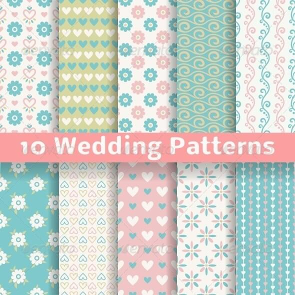 Pastel Wedding Seamless Patterns
