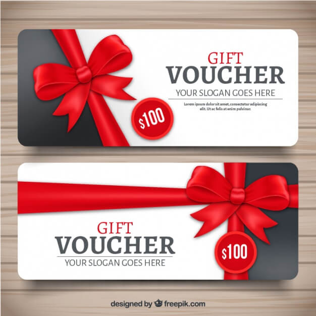 Realistic gift voucher with red decorative bow Free Vector