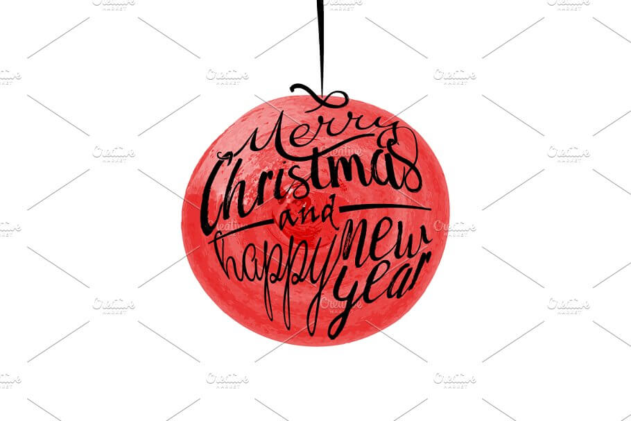 Red watercolor Christmas ball