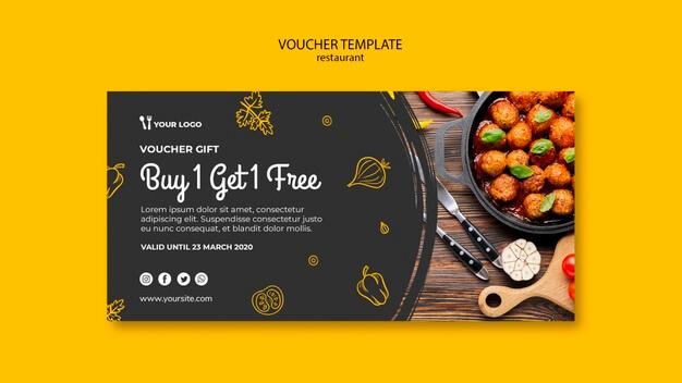 Restaurant voucher template Free Psd