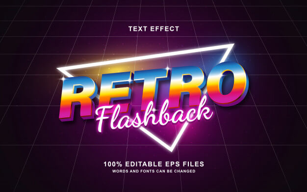 Retro flashback 80's retro text effect Premium Vector