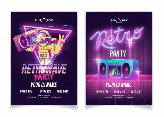 Retrowave music party in nightclub cartoon ad poster, flyer