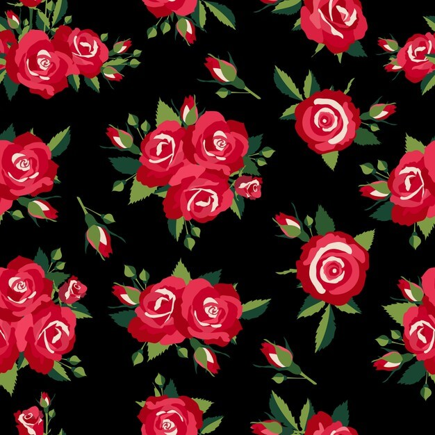 Roses pattern on black background vector illustration Free Vector