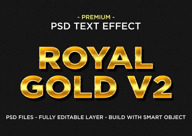 Royal gold v2 premium photoshop psd styles text effect Premium Psd