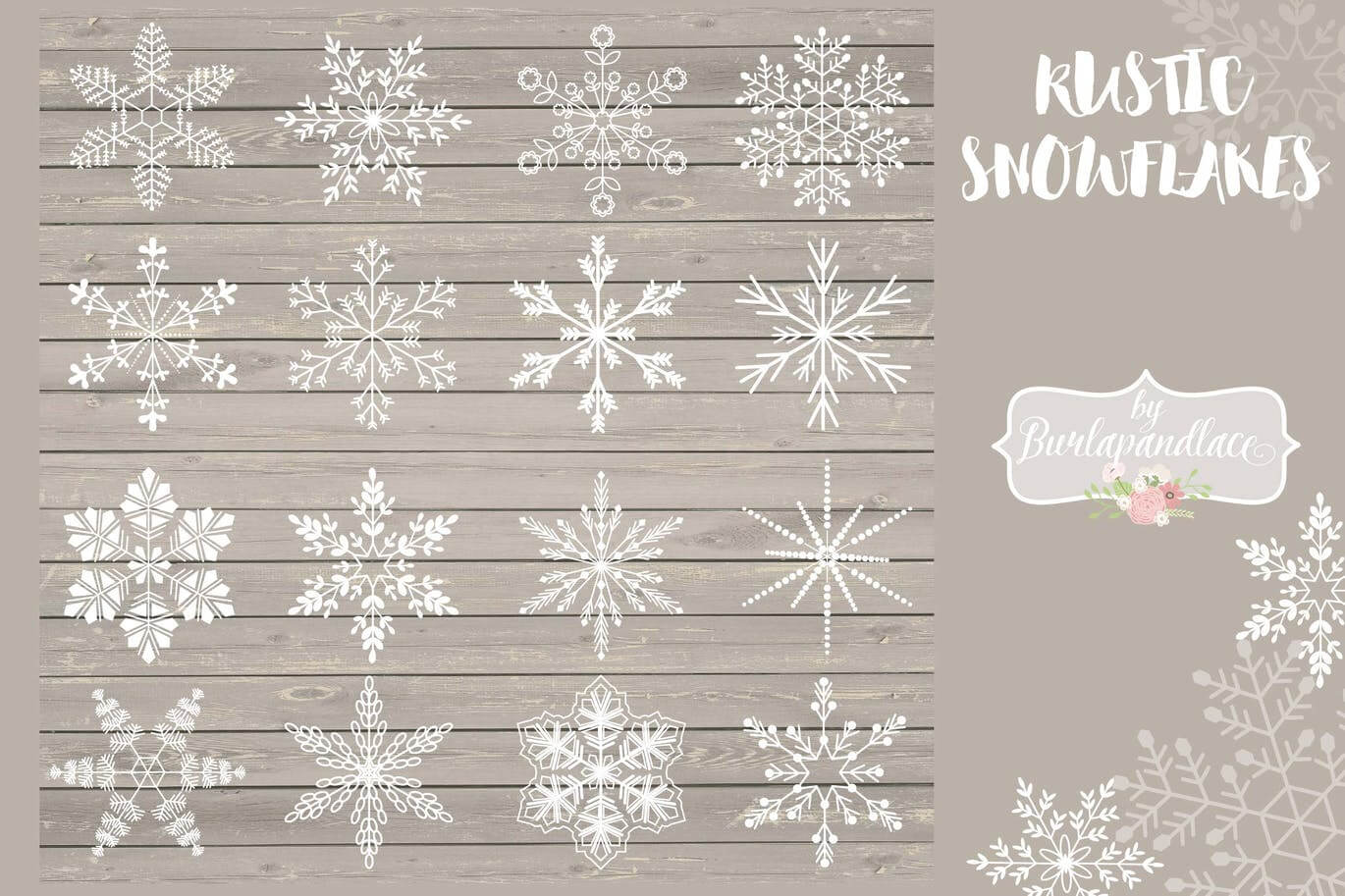 Rustic snowflakes cliparts