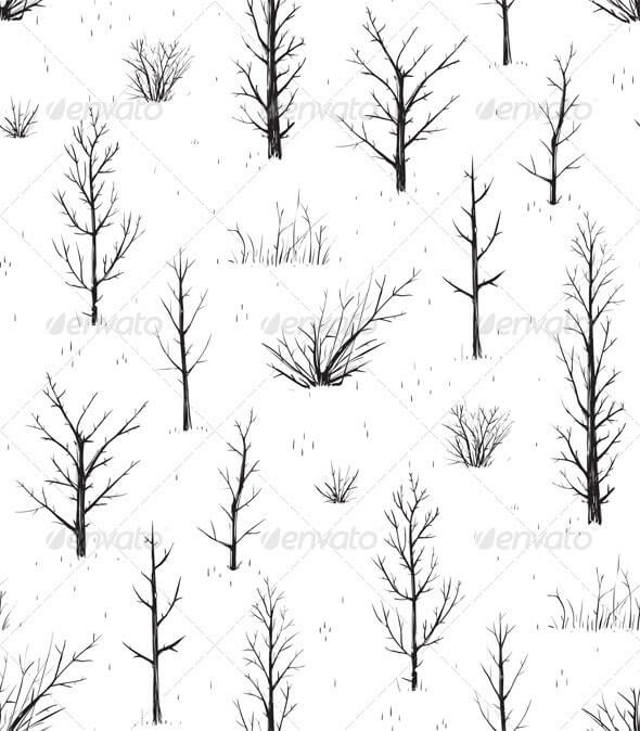 Scratchy Trees Black Silhouettes Seamless Pattern