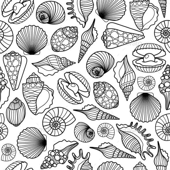 Sea Shells Black Seamless Pattern