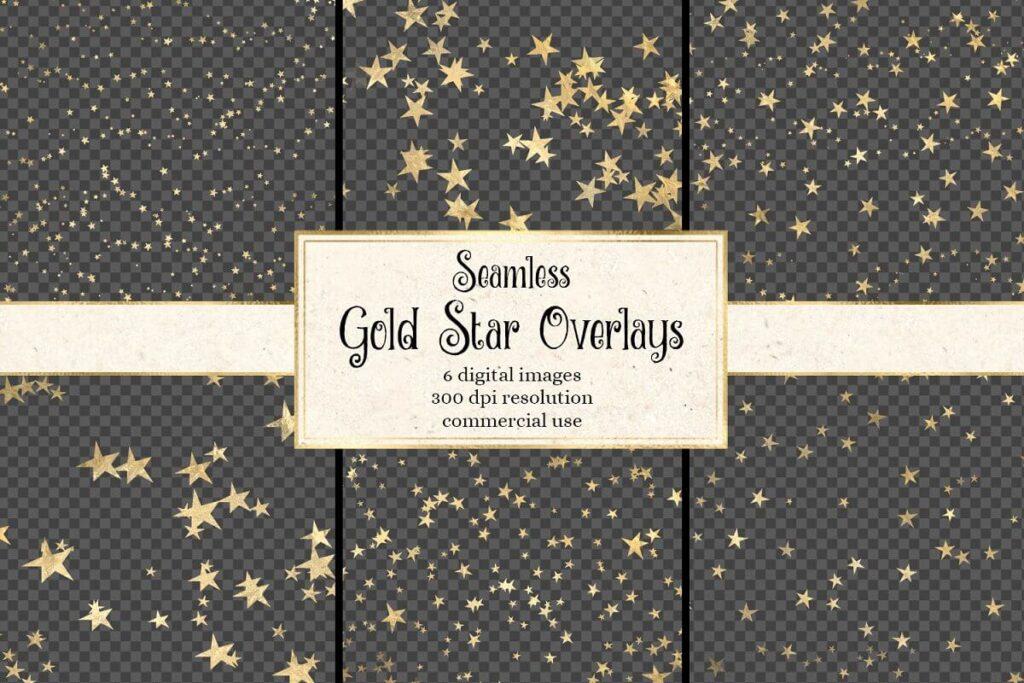 Seamless Gold Star Overlays