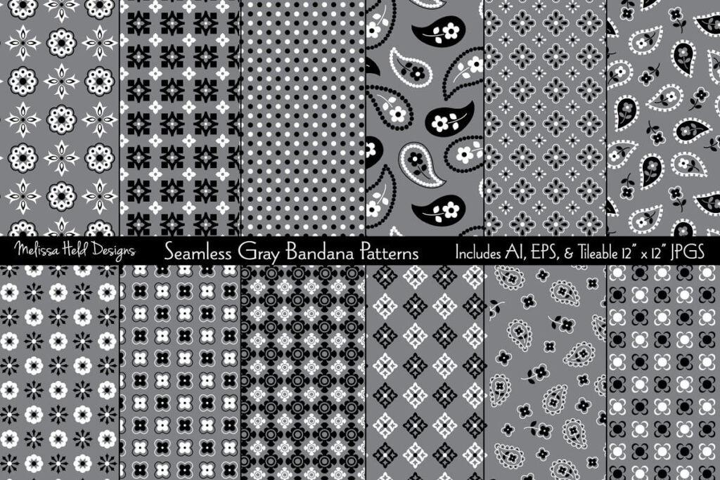 Seamless Gray Bandana Patterns