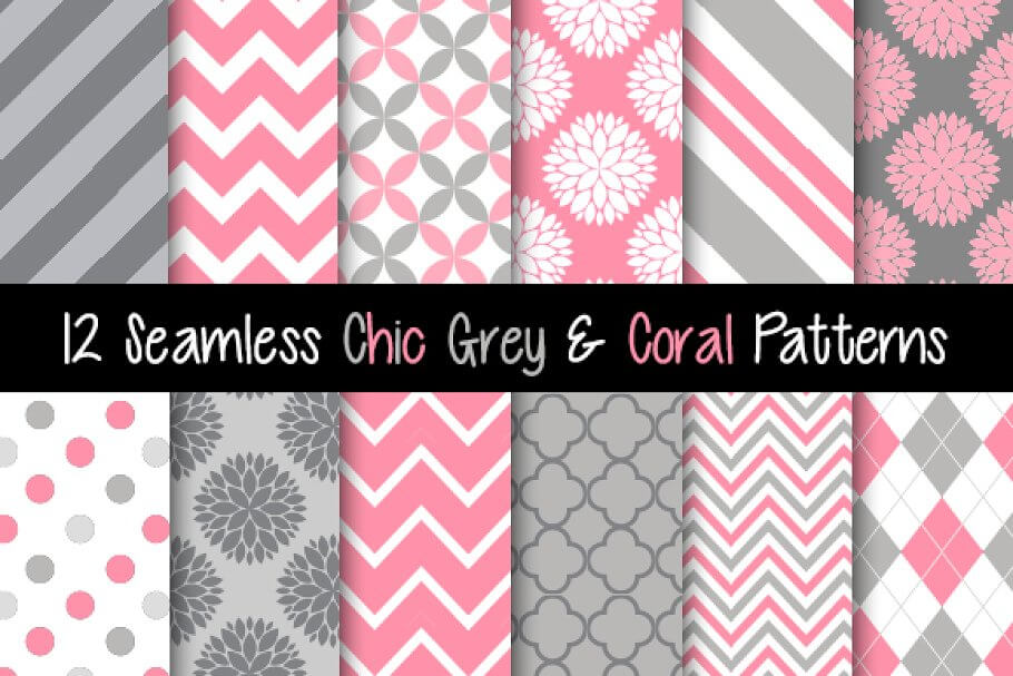 Seamless Grey and Coral Patterns