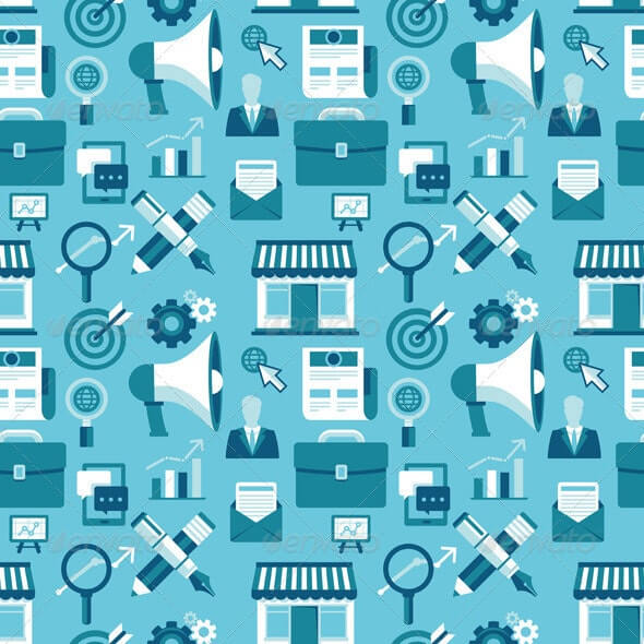 Seamless Pattern with Marketing Icons