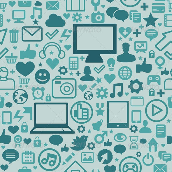 Seamless Pattern with Social Media Icons
