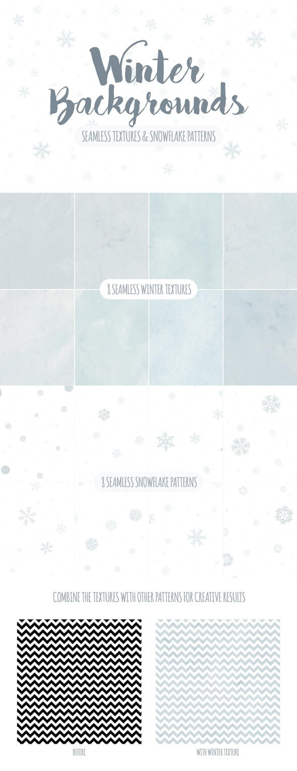 Seamless Winter Snowflake Textures and Patterns