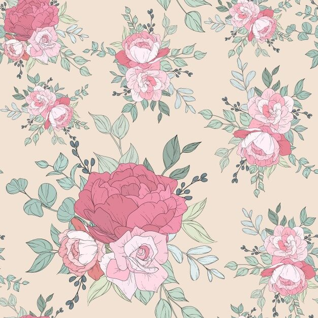 Seamless pattern design with beautiful floral Free Vector