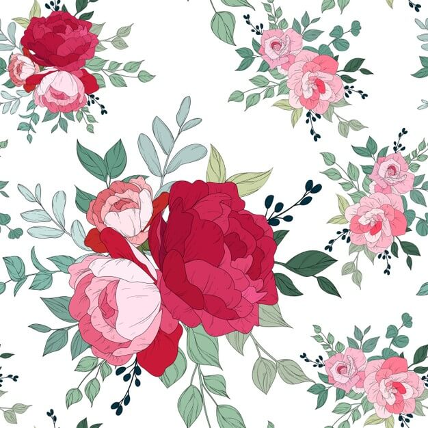 Seamless pattern design with beautiful floral Free Vector1