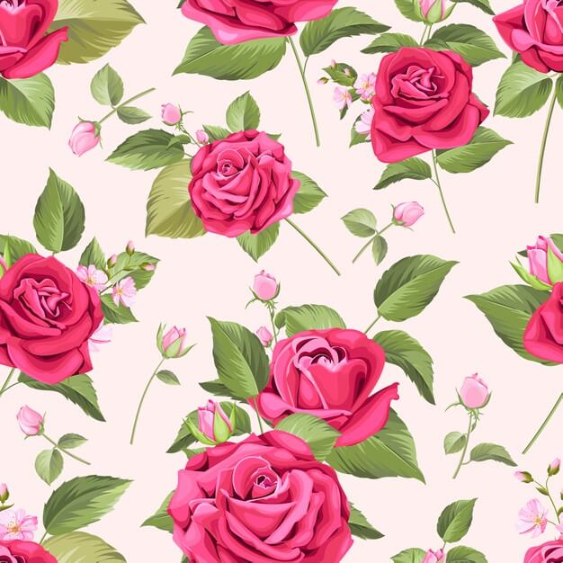 Seamless pattern with elegant floral Free Vector